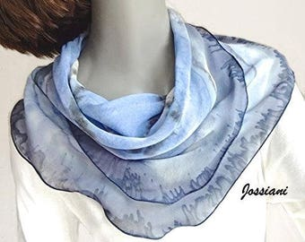 Gray Blue Small Square Scarf Hand Painted Silk Chiffon, Handmade to Order with your colors, Jossiani