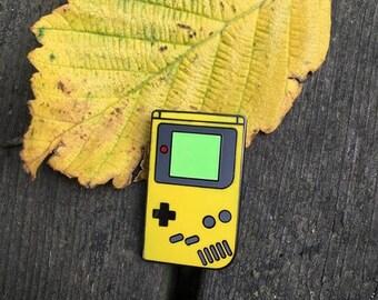 Yellow Gameboy Lapel Pin (Glow In The Dark) - Nintendo Enamel Pin