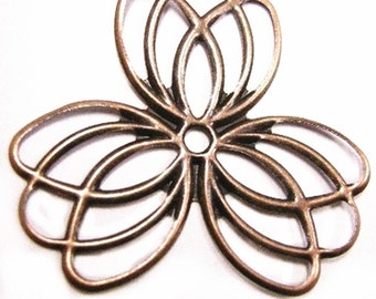 8pc antique copper filigree flower wraps-4199