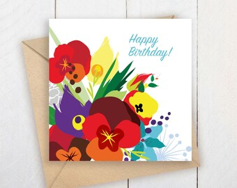 Happy Birthday!/Happy Birthday Printable Card/Flowers Card/Woodland Art/Woodland Greeting Card/Birthday Woodland Card/Floral Card