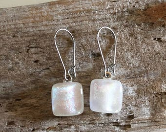 White Square Dichroic, Fused Dichroic Glass Earrings, Square Earrings, Sterling Steel, 25mm Kidney Wire, Free Shipping- 42