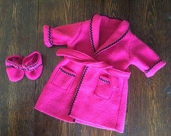 1996 American Girl Pleasant Company Magenta Pink Doll Robe & Slippers
