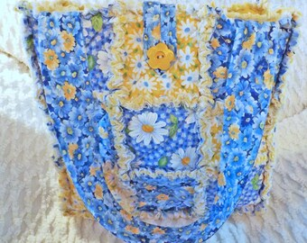 Blue and Yellow Daisy Rag Quilt Tote - Daisy Tote - Spring and Summer Tote - Handmade - Gift for her