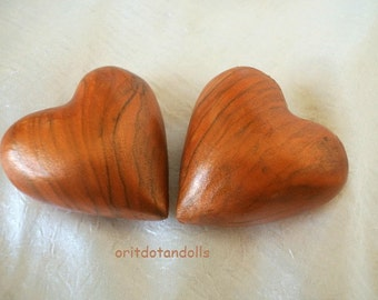 Heart shape 1 pcs made of olive wood, hand carved in BETHLEHEM, Holy Land, hand painted by me