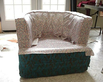 Instant Download! Slipcover Instructions for a tub or barrel chair cover with floor length skirt
