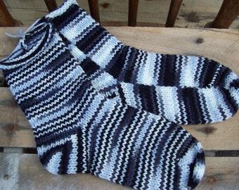 Socks Hand Knit Socks EMO / Zebra 1 pair fits US adult size 7 to 9 Fabulous Funky Footwear