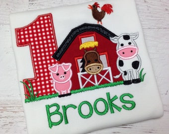 Barnyard Birthday Farm shirt with Farm Animals  Boy or Girl Farm birthday shirt,  Red gingham shorts, Barnyard birthday outfit