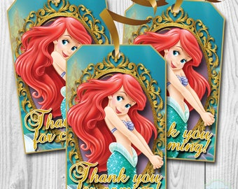 The Little Mermaid Thank you Tags, The Little Mermaid Favor Tags, Ariel The Little Mermaid Goody Bag Tags, PRINTABLE, You Print