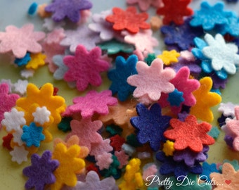 Mixed Mini Felt Flower Packs, Mixed Coloured Flowers, Die Cut Craft Embellishments