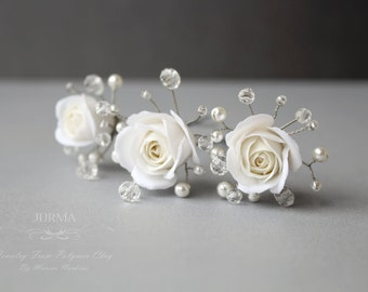 Wedding Hairpins With White Roses From Polymer Clay, Crystals And Svarowski Pearls