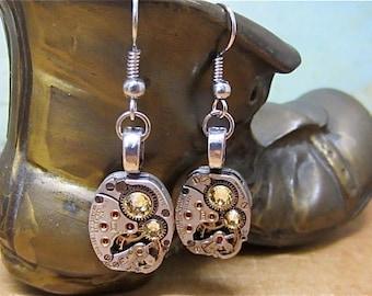 Citrine  - Steampunk Earrings - Repurposed art