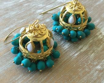 Jhumka Hoop Earrings, Indian jhumka, Pakistani, Gold Jhumki, Blue jhumkas, Teal, Turquoise, Jhumkas