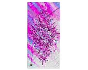 BEACH TOWEL - Mandala Beach Towel - Pink Mandala Towel - Wynterco - Beach Towel Watercolor pink mandala bath towel bathroom big large