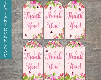 Pink Ladybug Gift Tags | Floral Watercolor Garden Party Baby Shower Birthday Spring Flowers Wood Goodie Bag Digital | INSTANT DOWNLOAD