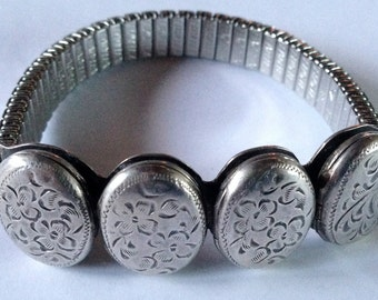 SALE! Antique Engraved Sterling Silver Bracelet with Four Lockets