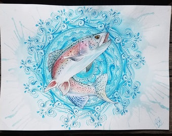 Rainbow Trout with Water Mandala