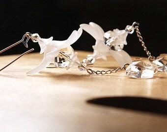 Statement Jewelry Crystal Butterfly Earrings Frosted Flower Earrings Snow White Earrings Bridal Earrings Wedding Earrings Sterling Silver
