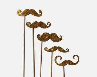Best Photo Booth Props - Gold Glitter Mustaches