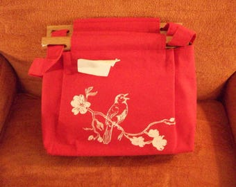 silk screen cotton purse with robin on dogwood branch, back side blooming branch