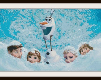 Frozen Cross Stitch Pattern - Frozen, Anna & Elsa, Olaf - PDF Download