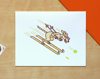 Ski Racer Dog Letterpress Card