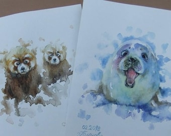 Original Watercolor Art Postcards Set of 2 Seal, Teddy Bear
