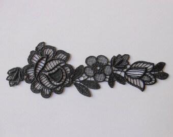 Applique lace black 16.5 x 5,5 cm