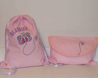 Kindergarten bag and diaper pouch-handmade-for children-handcrafted product-customizable with name
