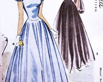 McCall 7013 GLAMOROUS Evening Dress Sewing Pattern Full Romantic Dancing Skirt Dreamy Bishop or Short Puff Sleeves Formal Gown Bust 32 UNCUT