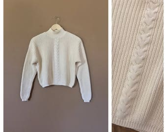 90s Cropped Sweater / Vintage Knit Sweater/Cotton Sweater/Hipster Sweater / Ivory Sweater / 90s Sweater / Turtleneck Sweater/90s clothing