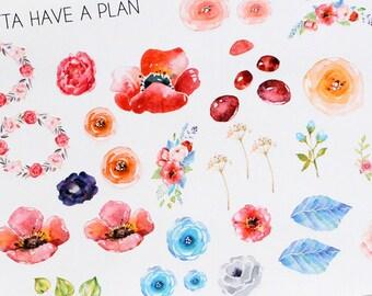 Planner Stickers Watercolor Flowers for Erin Condren, Happy Planner, Filofax, Scrapbooking