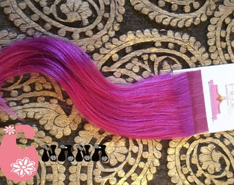 "Purple tape human hair Extensions hair extension, band European hair Extensions, 15 "", skin/glue"