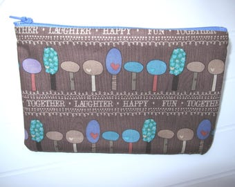 Brown Pouch makeup organizer with colored trees