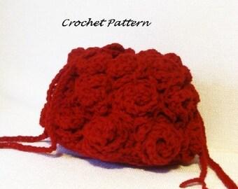 Roses Drawstring Purse Crochet Pattern pdf 498