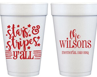 Custom  Styrofoam Party Cups for 4th of July, memorial Day, Labor Day Summer BBQ Party (14 - 24 ounce)