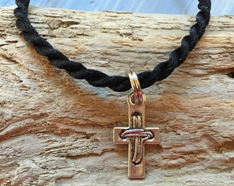 Rustic Christian cross necklace - Wrapped Cross Necklace - Boy's Cross Necklace - Silver Cross - Give Clean Water