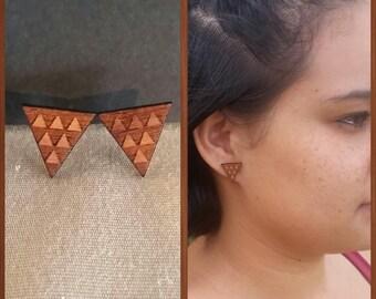 Koa Post Earring