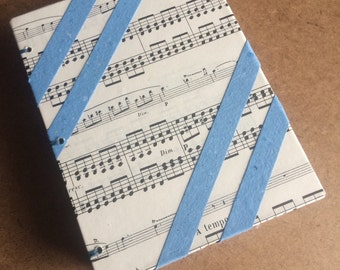 Blue vintage music journal, handmade paper journal, sketch book, travel journal, guest book, recycled guestbook, recycled paper book, music