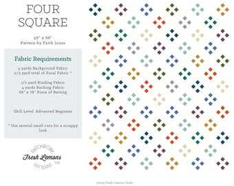 Modern Quilt Pattern - Four Square - PDF