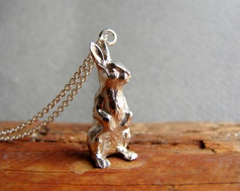 Bunny Charm Necklace, Bunny Necklace, Rabbit Necklace, Easter Gift, Child Necklace, Sterling silver, Rabbit Jewelry, Bunny Pendant