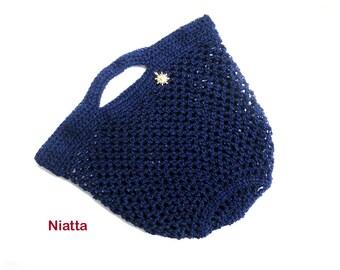 shopping bag farmers market bag french market bag, grocery bag foldable woven bag beach tote, crochet handmade reusable blue bag egst Niatta