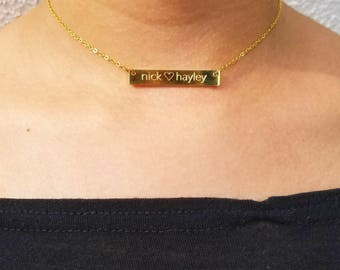 Personalized Name Choker, Mother's Day Necklace, Custom Name Necklace, Name Plate Necklace, Custom Choker, Name Bar Necklace