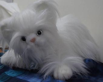 Handmade White Persian Cat Stuffed animal white cat