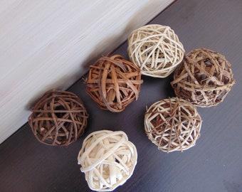 6 Wicker Balls,Grapevinne Ball,Twig Balls,Wicker Ball,Home Decoration,Gift Idea,Vase Filler,Home Decoration