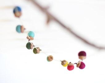 Felted Acorn Garland  - ten colorful handfelted acorns on hemp string
