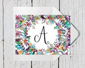 Personalized Custom Monogram Floral Stationary Flat Notecards -  Set of 25