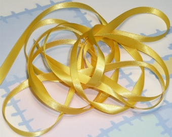 MAIZE DouBLe FaCeD SaTiN RiBBoN, Polyester 1/4 inch wide, 5 Yards