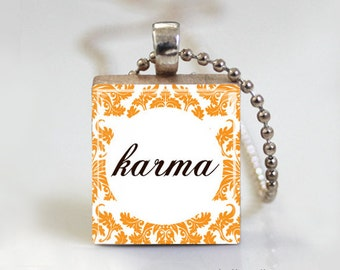 KARMA Damask Print Quote - Scrabble Pendant Necklace with Free Ball Chain Necklace or Key Ring