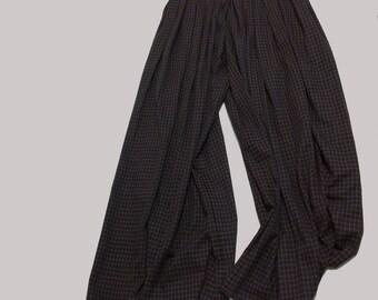 Handmade Schoolgirl Plaid Twill High Waisted Wide Legged Palazzo Pants XL