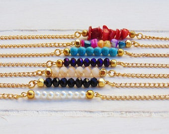 Gold beaded bar necklace,Bar necklace,Gold bar necklace, Crystal bar necklace,Dainty gold bar necklace,Dainty gold chain,Layering necklace